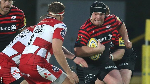 Saracens' Lions-bound prop Matt Stevens in action