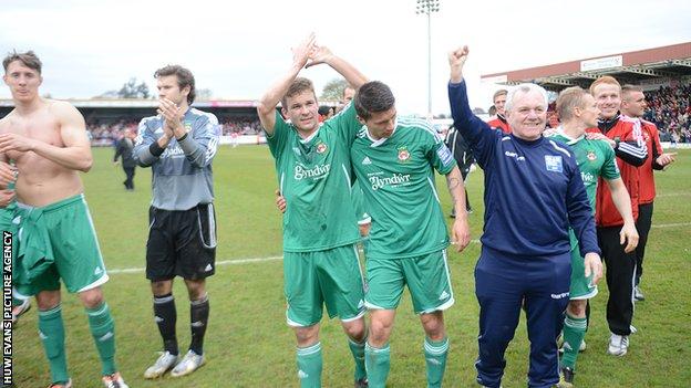 Wrexham celebrate their semi-final win at Kidderminster
