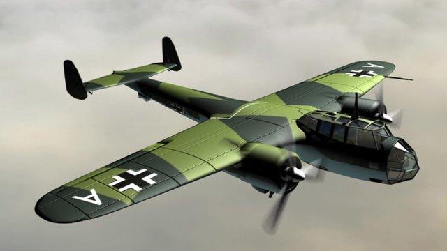 3D computer image of a Dornier 17 bomber
