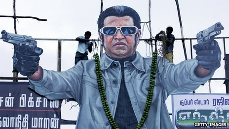 Cut-out of Tamil film actor Rajinikanth to promote his film Endhiran (Robot)