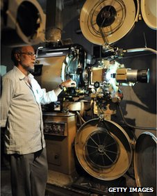 Projection room at the Pankajam cinema theater in Chennai