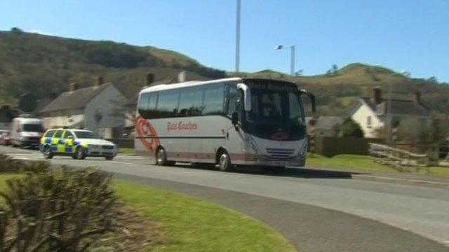 The jury's bus in Machynlleth