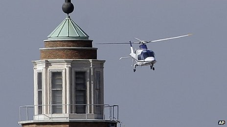 Helicopter carrying Emeritus Pope Benedict back to the Vatican, 2 May 2013
