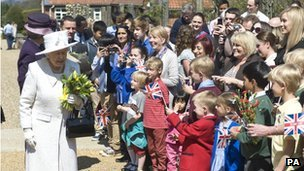 The Queen greeted by crowds at Headley Court military rehabilitation centre