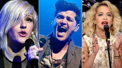 Ellie Goulding, Danny O'Donoghue from The Script and Rita Ora