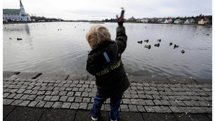 Child playing in Iceland