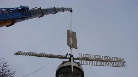 Windmill sails put into place