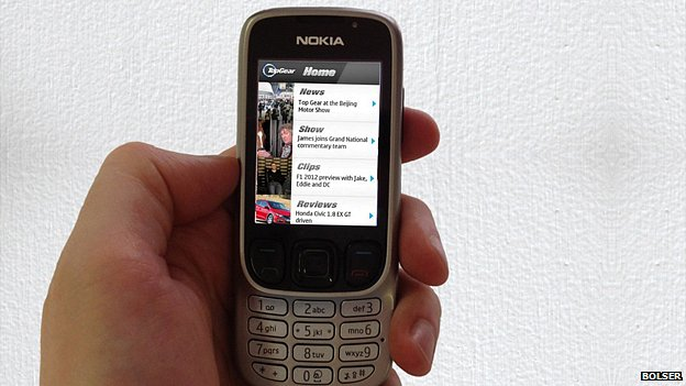 Top Gear app on a Nokia feature phone