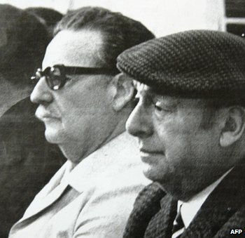 Pablo Neruda (right) and Salvador Allende (left)