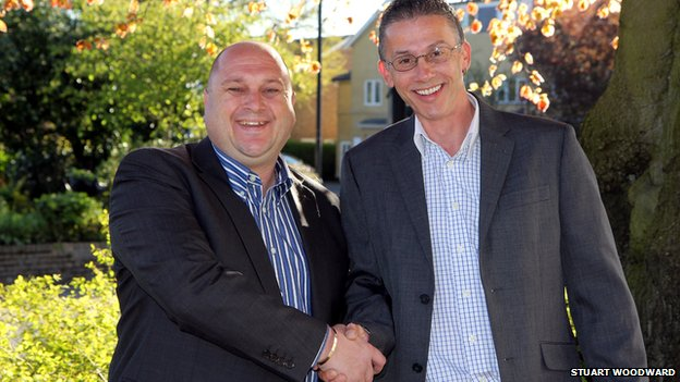 Ricky Dalton (left) meets Matt Adkins for the first time in person at BBC Essex's offices in Chelmsford