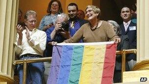 Same-sex marriage supporters celebrate in Providence. Photo: 2 May 2013