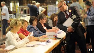 Votes are counted in Cinderford, Gloucestershire