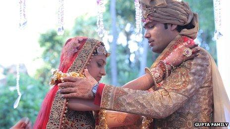 The bride and groom - Vega Gupta and Aaskash Jahajgarhia