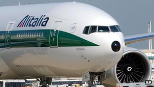 An Alitalia plane takes off at Rome's Fiumicino Airport