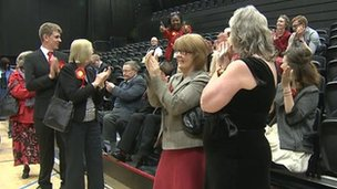 Labour celebrating gains at the Stevenage count