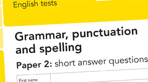 Screengrab of grammar test paper