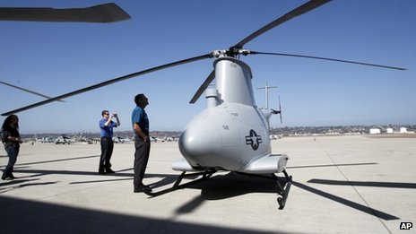A Fire Scout MQ-8B helicopter on the ground in San Diego, California 2 may 2013