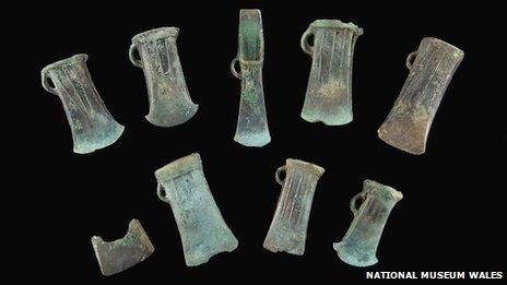 Some of the axes which were found in Colwinston, Vale of Glamorgan