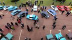 Car enthusiasts view Hillman Imp cars in Linwood