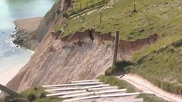 Rock slide in St Oswald's Bay