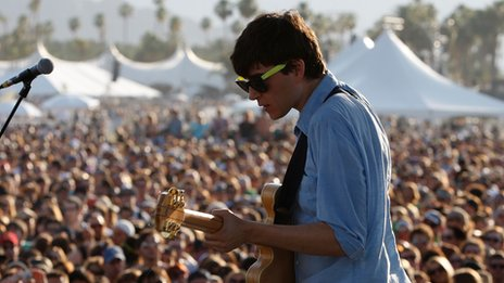 Ezra Koenig on stage at Coachella 2008