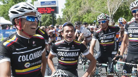Cyclists of team Colombia-Coldeportes