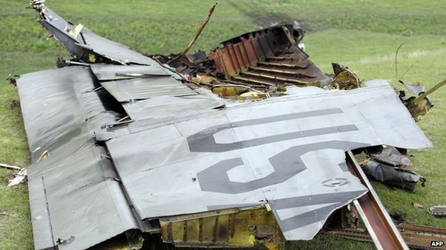 Debris of crashed US plane