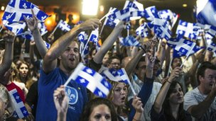Supporters of Parti Quebecois at a rally