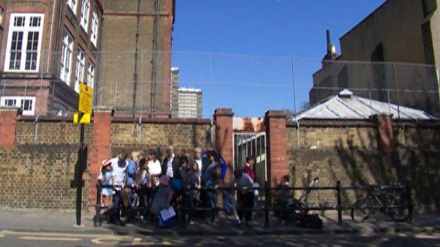 Children outside a school