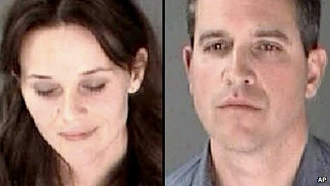 Reese Witherspoon and Jim Toth combination of police booking photos 22 April 2013