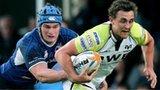 Leinster's Rhys Ruddock tackles Ashley Beck of Ospreys