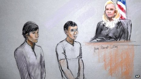 This courtroom sketch signed by artist Jane Flavell Collins shows defendants Dias Kadyrbayev, left, and Azamat Tazhayakov appearing in front of Federal Magistrate Marianne Bowler at the Moakley Federal Courthouse in Boston, Massachusetts 1 May 2013