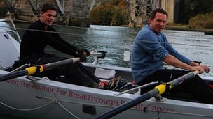 Nick Rees (left) and Ed Curtis rowing on the Menai Strait near Britannia Bridge, between Anglesey and the mainland of Wales