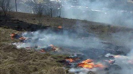 Grass fire in Tonypandy, Rhondda, in April