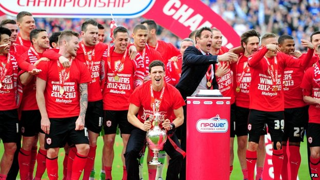 Cardiff City players lifting the trophy last month