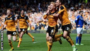 Hull celebrate Paul McShane's goal