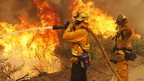 Firefighters battle the Springs Fire at Point Mugu State Park 3 May 2013