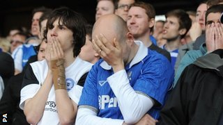 Peterborough fans react to Crystal Palace's winning goal