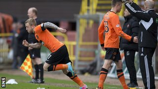 Dundee Utd's Johnny Russell (left) made his first appearance since breaking his leg in March