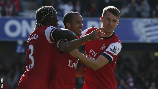 Arsenal celebrate Theo Walcott's early strike