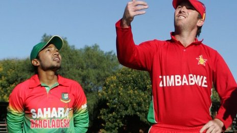 Bangladesh captain Mushfiqur Rahim and Zimbabwe skipper Brendan Taylor