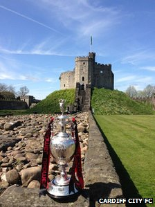 The Championship trophy arrives at Cardiff Castle ahead of the parade