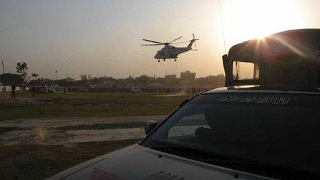 Nawaz Sharif's helicopter at Sargodha rally