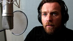 Ewan McGregor in the voice-over booth for Hebrides: Islands on the Edge