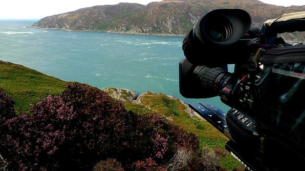At the Corryvreckan whirlpool - filming for Hebrides - Life on the Edge