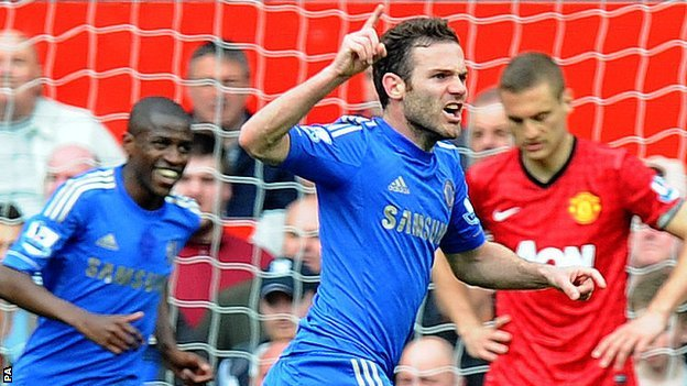 Chelsea playmaker Juan Mata celebrates after his side's goal at Manchester United