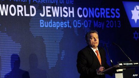 Hungarian Prime Minister Viktor Orban delivers a speech during an opening ceremony World Jewish Congress meeting in Budapest on 5 May 2013