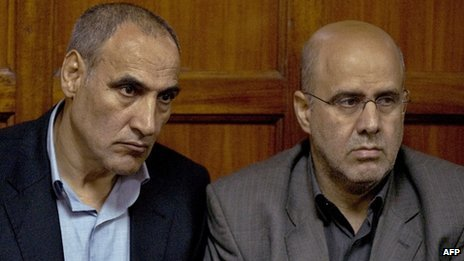 Sayed Mousavi (L) and Ahmad Mohammed in court in Nairobi, Kenya, on 23 July 2012