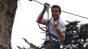 Steve McMullen on a zip-wire in New Zealand