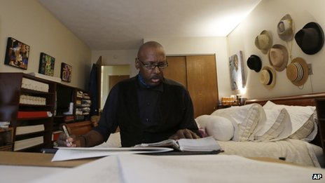 Phillip Patterson transcribes the King James Bible at this home in Philmont, New York 30 April 2013